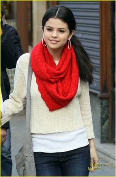 Selena Gomez Fashion! An outfit you can wear. Just a plain light baige long sleeve shirt with white undershirt & red scarf!