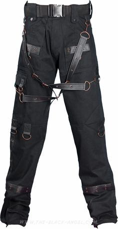 Steampunk men's pants by Raven SDL, with fake-leather details and brass metal parts.