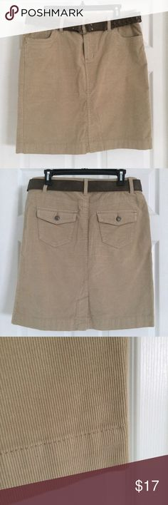 Khaki Corduroy Skirt The perfect corduroy skirt! Includes the belt, has zipper and 2 pockets on the front, and 2 pockets on the back. Falls right above the knee. 98% cotton, 2% spandex. Sonoma Skirts Midi