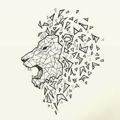 nawden #art #drawing #ink #geometric #sketch #lion #leo #tattoo ...