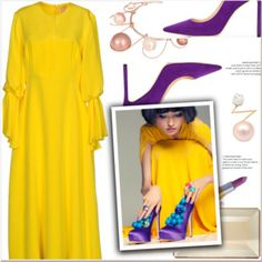 Yellow Dress and purple shoes