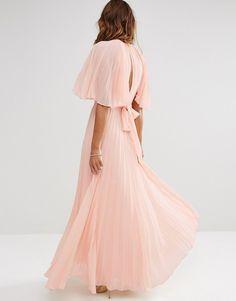 Image 2 ofASOS Pleated Flutter Sleeve Kaftan Maxi Dress