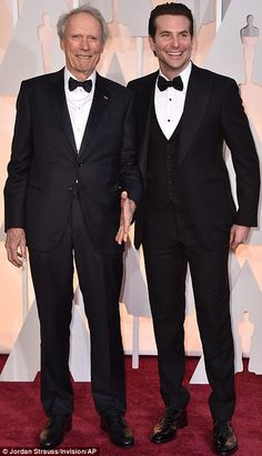 Double trouble: The Grand Budapest Hotel stars Jeff Goldblum and Adrien Brody (L) wore mat...