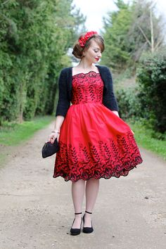Red and black embroidered 50s style dress by Voodoo Vixen - perfect vintage party outfit http://stores.ebay.com/bearflag13547/Voodoo-Vixen-/_i.html?_fsub=1009090219