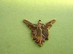 art nouveau angel pendant, vintaj brass angel pendant, angel charm