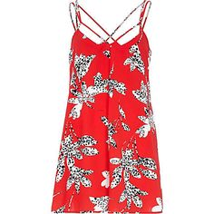 Red floral silhouette print playsuit $60.00