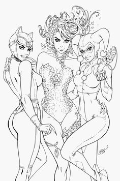 Poison Ivy, HarleyQuinn, Catwoman - Dawn McTeigue by Pendecon on DeviantArt Printable Adult Coloring Pages, Coloring Pages For Girls, Cute Coloring Pages, Coloring Books, Tattoo Coloring Book, Sexy Drawings, Art Drawings, Costume Catwoman, Superhero Coloring