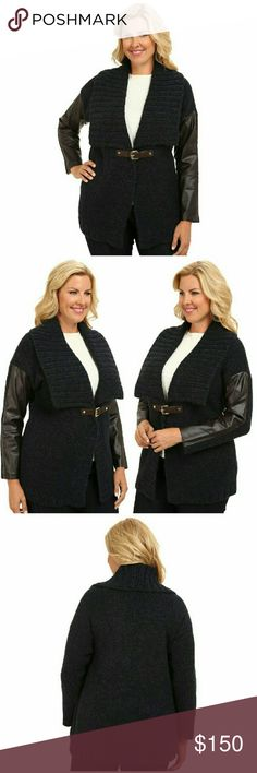 New! MICHAEL KORS Plus Size Buckle-front Cardigan MICHAEL Michael Kors adds effortless style to your ensembles with this sleek plus size topper, blending faux-leather sleeves with a cozy knit body. An infusion of alpaca wool brings plush warmth to the shawl-collar style.  * Brand New with Tags  * Color: Navy  * Buckle clasp at waist  * Long faux-leather sleeves  * Wide shawl collar  * Hits at low hip  * Acrylic/Alpaca; faux leather: polyurethane  * Machine wash. * Retails for $185 Michael…
