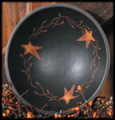 Wooden Bowl Folk Stars and Berries, Primitive-Decorative Wooden Bowl,Bowl Stars,Primitive bowl,Country Decorative Bowl,Star Bowl from www.oldcountrycrows.com