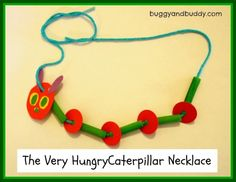 Eric Carle - Very Hungry Caterpillar necklace craft - green-dyed pasta, yarn, paper scraps. Kinder orientation for next year? Hungry Caterpillar Craft, Counting Caterpillar, Caterpillar Book, Spring Crafts For Kids, Classroom Crafts, Eric Carle, Book Crafts, Art Crafts, Preschool Activities