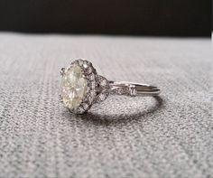 Estate Halo Moissanite Diamond Antique Engagement by PenelliBelle