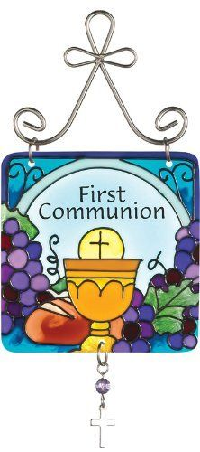 Joan Baker Designs JSW197 First Communion Inspirational Mini Art Glass Suncatcher, 3 by 6.25-Inch by Joan Baker Designs. $11.00. Hand-painted. Translucent artwork looks beautiful from inside or outside the window. Decorative and sturdy silver-tone hanger for easy display. They're pretty and petite, some festive, some sweet. Each Mini Art Glass Suncatcher features hand-painted original art adorned with a mini charm and colorful bead. First Communion suncatcher celebrates the Chri...
