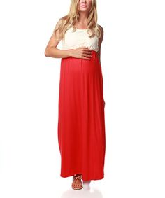 Take a look at this Bright Coral Crocheted Maternity Maxi Dress - Women by PinkBlush Maternity on #zulily today! $36.99, regular 61.00