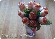 Bacon Rose Bouquet...perfect for Father's Day or Valentine's Day!