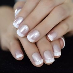 White French Nails, French Tip Nails, Silver French Manicure, French Manicure With A Twist, French Manicure Acrylic Nails, White Manicure, French Manicures, French Nail Art, Cute Nails