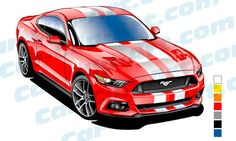 Ford Mustang Gt, First Mustang, S550 Mustang, 2015 Ford Mustang, Mustang Cars, Garage Art, Racing Stripes, Car Drawings, Automotive Art