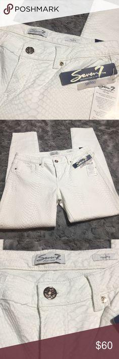 Seven 7 white Reptile embossed Skinny Jeans Beautiful white jeans with a reptile pattern embossed on it! Seven7 Jeans Skinny