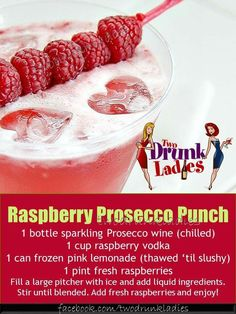 Raspberry Prosecco Punch but with strawberries Raspberry Punch, Raspberry Vodka, Raspberry Filling, Raspberry Cocktail, Prosecco Punch, Prosecco Cocktails, Cocktail Drinks, Fun Cocktails, Sangria