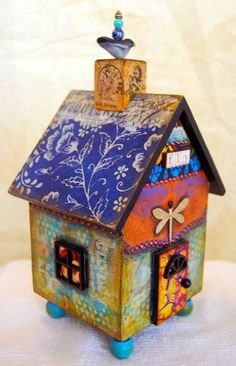 """Learn to Fly"" - mixed media house by MJ Chadbourne/Desert Dream Studios/All Rig. ""Learn to Fly"" - mixed media house by MJ Chadbourne/Desert Dream Studios/All Rights Reserved/Copyright 2013 Putz Houses, Bird Houses, Altered Boxes, Altered Art, Fabric Boxes, Learn To Fly, Glitter Houses, Paperclay, Paper Houses"