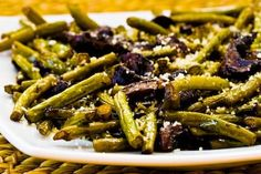 Roasted green beans with mushrooms, balsamic and parm