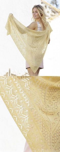 free knitting pattern for a lace shawl with a triangular shape.