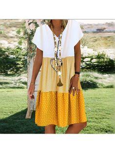 Ladies casual V-neck printed short sleeve dress - realyiyi.com Knee Length Dresses, Short Sleeve Dresses, Dresses With Sleeves, Midi Dresses, Midi Sundress, Loose Dresses, Long Sleeve, Spring Skirts, Party Dresses For Women