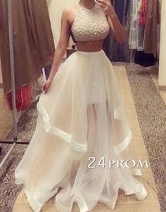 modest prom dress long, ball gown, sequin tulle long prom dress for teens, unique ball gown long evening dress 2016, two pieces long formal dress