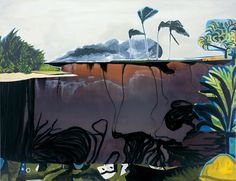"""Dexter Dalwood, """"Bay of Pigs"""", 2004, oil on canvas. He recreates the failed 1961 U.S. attempt to overthrow the Cuban government, a haunting tropical image somewhere between vacation brochure and Apocalypse Now. Along the bottom of the canvas, an upside-down version of Picasso's Dejeuner sur l'herbe stands in for the foreign shore: while the world is in crisis, Picasso is painting palm trees in Cannes. 19.04.61 is engraved on a nearby rock, stolen from a Picasso painting finished that very…"""
