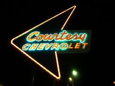 Phoenix, AZ Courtesy Chevrolet sign. One of the many car dealership signs I remember from Phoenix.