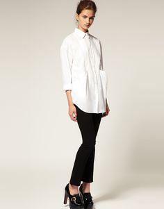Asos Collection Asos Oversized Drop Pocket Boyfriend Shirt in Blue - Lyst