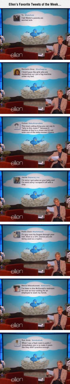I love Ellen and her show, and nearly every one of these tweets made me laugh.