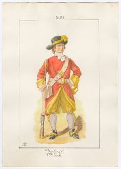 Hastings Regiment of Foot, which later became Regment of Foot, 1685 by Charles Lyall British Armed Forces, British Soldier, British Army, Commonwealth, King William, Military Uniforms, Sailors, Rifles, Military History