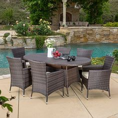 Clementine Outdoor 7pc Multibrown Wicker Long Dining Set -- Visit the image link more details. (This is an affiliate link) #PatioFurniture