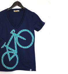Womens Bicycle applique Tshirt  organic cotton by stitchandspoke