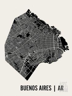 Buenos Aires Art Print by Mr City Printing at Art.com