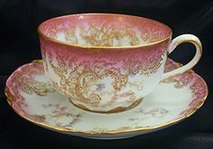 HAVILAND LIMOGES CUP & SAUCER with PINK ROSES & GOLD pattern