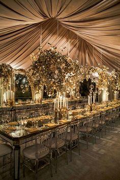 We love this wedding decor theme! Tent Wedding, Wedding Table, Dream Wedding, Wedding Day, Gold Wedding, Wedding Receptions, Wedding Blog, Ballroom Wedding, Glamorous Wedding