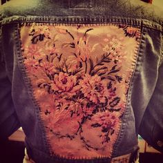 jean jacket redo, with old couch fabric inserted