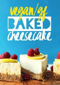 INSANELY creamy BAKED Vegan Cheesecake with GLUTEN-FREE Crust! Made in the blender! #vegan #glutenfree #cheesecake #recipe#minimalistbaker