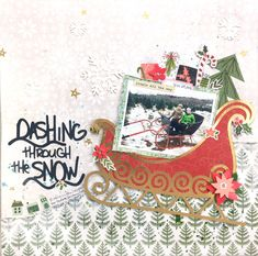 Dashing through the SNOW! // Audrey Yeager (The Cut Shoppe) Christmas Scrapbook Pages, Scrapbook Paper Crafts, Scrapbooking, Scrapbook Designs, Scrapbook Page Layouts, Dashing Through The Snow, Second Hand Stores, Tree Patterns, Jingle All The Way