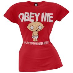 Family Guy - Obey Me Red Juniors T-Shirt