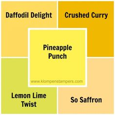 Stampin' Up Pineapple Punch compared to other Stampin\' Up colors
