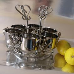 SALE 1950s Glass Silver Banded Tumbler Set with by Vintagedustshop, $44.00