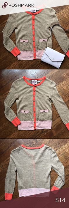 Lightweight Cardigan Great condition tan coral and light pink cardigan with gold buttons. Fits like XS  🙅🙅 No Trading  💁 Reasonable Offers are Always Welcomed Juicy Couture Sweaters Cardigans