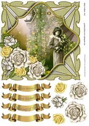 Yellow Climbing Roses Shaped Card Topper