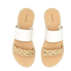 Soludos White Braided Slide Sandal - Soludos Espadrilles ($89) ❤ liked on Polyvore featuring shoes, sandals, white sandals, braided sandals, woven sandals, espadrille sandals and leather espadrilles