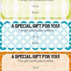 blank gift certificates saving money