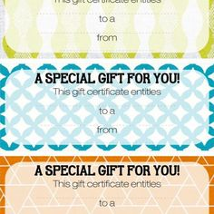 free printable gift certificates...and TONS more printable stuff...