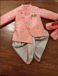 Designer pink boy kid sherwani royal customize To inquire whatsapp 918888328116 or ethnicdiagmailcom Kids Wear Boys, Kids Clothes Boys, Toddler Boy Outfits, Kids Outfits, Kids Indian Wear, Kids Ethnic Wear, Kids Dress Wear, Dresses Kids Girl, Kids Lehenga