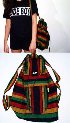 Rasta Knap Sack / Back Pack in Mint condition A tribe called Quest De La Soul Vibes 1990s Vintage Hippie Bob Marley on Etsy, $26.50